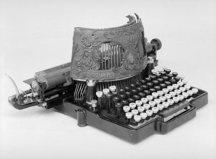 Bar-lock typewriter, 1889. Designed by Char