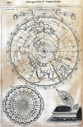Kircher's chart of time zones acros the known world, 1646.