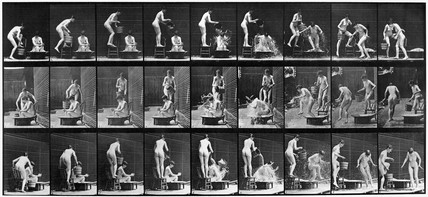 Nude woman pouring water over another nude woman in bath, c 1870s.