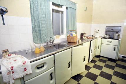 1960s Kitchens gallery display showing a 1960s kitchen, science museum, london, c