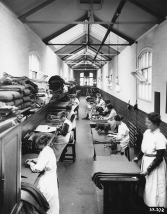 Female workers for The Great Eastern Railway, making carriage blinds, c 1921.