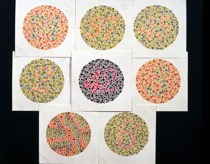 Set of Ishihara Charts for testing colour-blindnes, c 1959.
