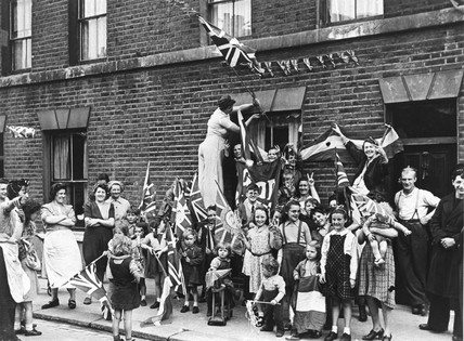 VE Day Celebrations, 8 May 1945. Families f