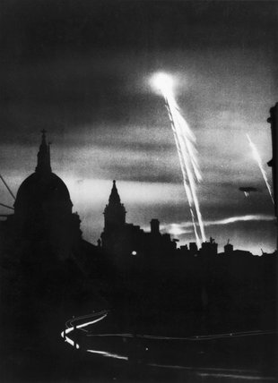 Bombs lighting the night sky over London, 22 March 1944.