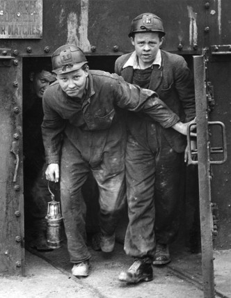 Mine students at Gresford Colliery, Wrexham, Wales, 14 April 1947.