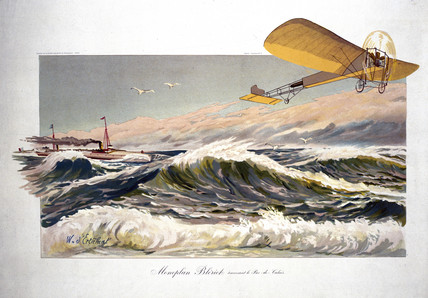 Bleriot crosing the English Channel in his monoplane, 1909.
