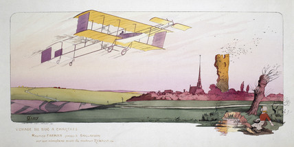 Maurice Farman in his biplane, during the Chartres airplane race, c 1910.