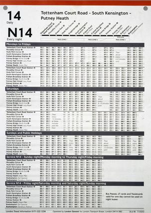 London Transport bus timetable, 1998
