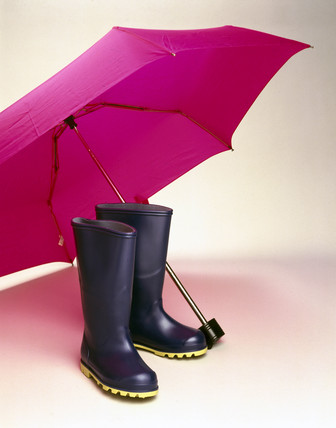 Umbrella and wellington boots, 1998.