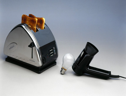 Voltaire electric toaster, Braun hair-drier, and lightbulb, 1999.