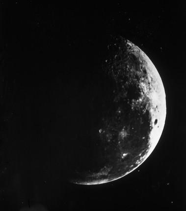 A first quarter Moon, c 1860.