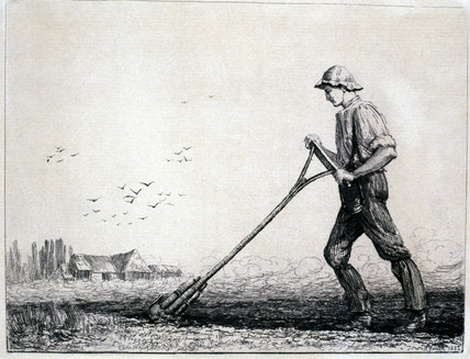 Labourer using a breast plough, 1882.