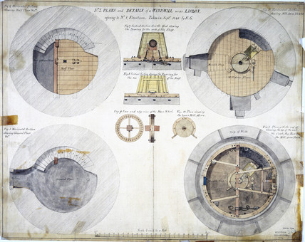 Plans and details of a windmill near Lisbon, Portugal, 1840.