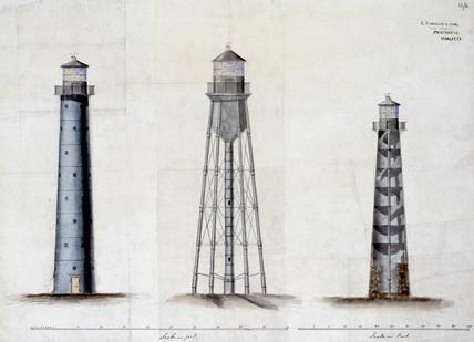Three lighthouse designs, c 1850.