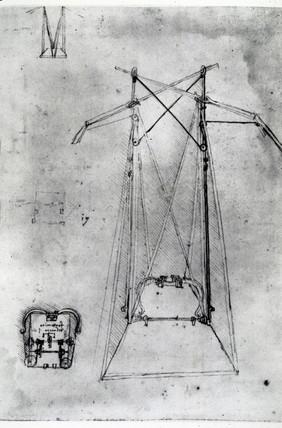 Design by Leonardo da Vinci for a flying machine, late 15th century.