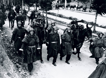 Brigade leaving for the Madrid Front, Spanish Civil War, 1936-1939.