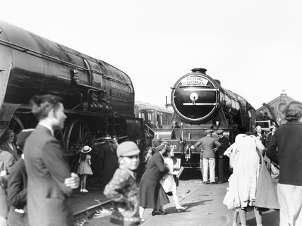 Railway exhibition at Ilford showing exhibits and spectators, 2 June 1934.
