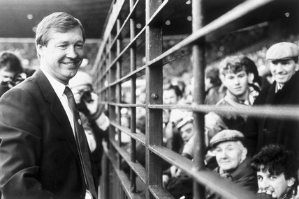 Alex Ferguson meeting Manchester United fans, 22 November 1986.