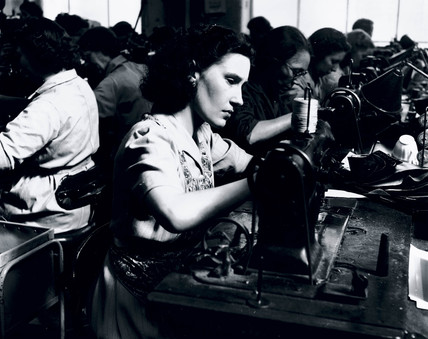 Woman manufacturing shoes, 1950.