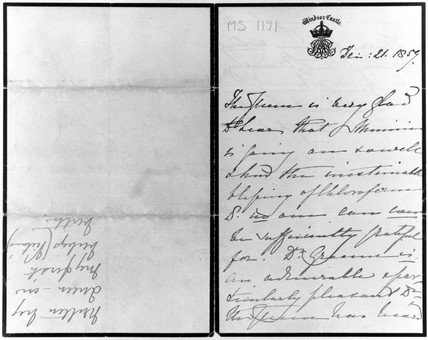 Letter from Queen Victoria concerning a chloroform asisted birth, 1859.