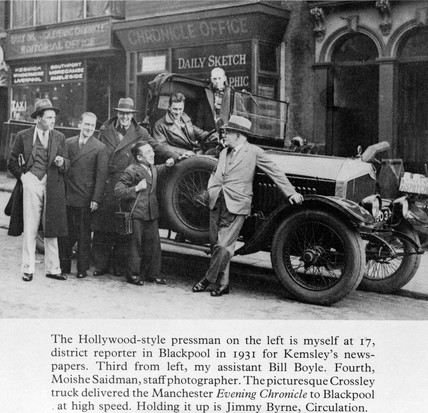 Moishe Saidman, photographer, with Chronicle journalists, Blackpool, 1931.