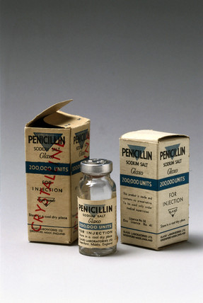 Penicillin specimen with original packaging, c 1950.