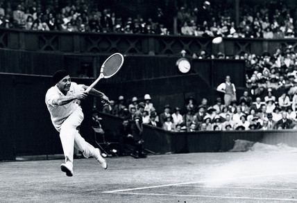 Jean Borotra playing in the Wimbledon Tennis Championships, London, 1931.