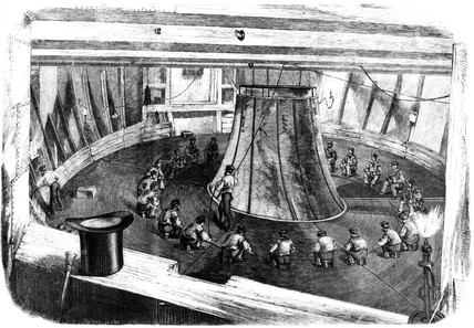 Cable being loaded into the hold of HMS 'Agamemnon', 1857.