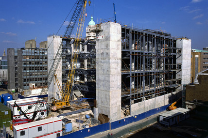 The Science Museum's Wellcome Wing under construction, London, March 1999.