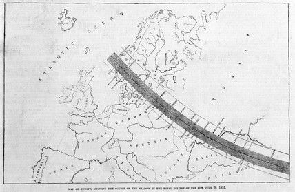 Map of the course of the Moon's shadow during a solar eclipse, 1851