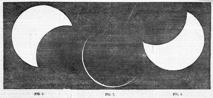 Three stages of a solar eclipse, 1858.