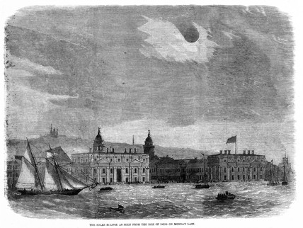 Solar eclipse seen over the Royal Observatory, Greenwich, 15 March 1858.