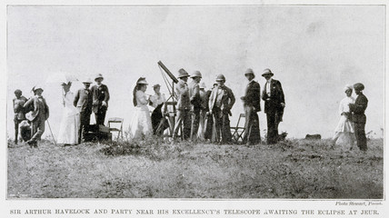 Sir Arthur Havelock and spectators awaiting the eclipse, Jeur, India, 1898.