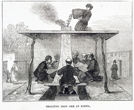 'Smelting Iron Ore at Kizzil', India, 1874.