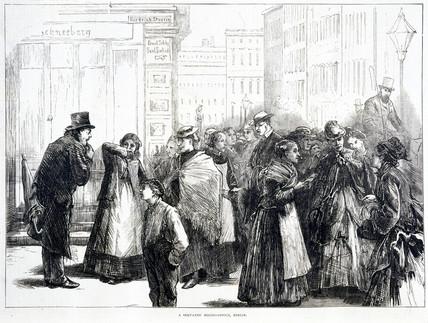 Servants' hiring office, Berlin, Germany, 1874.