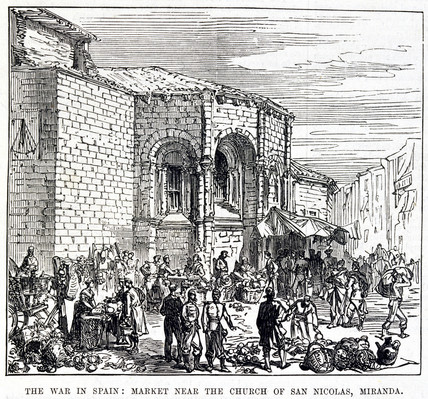 'The War in Spain: Market near the Church of San Nicolas, Miranda', 1874.