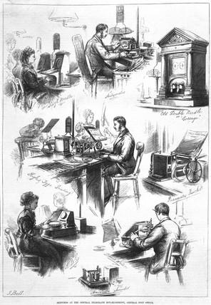 Sketches at the Central Telegraph Establishment, GPO, 1874.