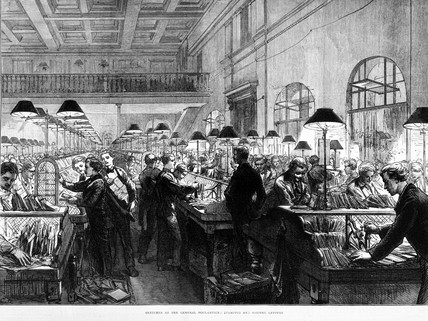 The General Post Office, stamping and sorting letters, 1875.