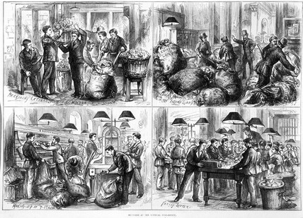 'Sketches at the General Post Office', London, 1875.
