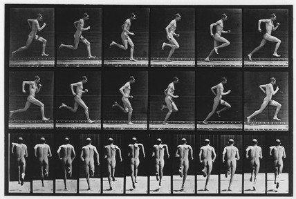 Nude man running, c 1880.