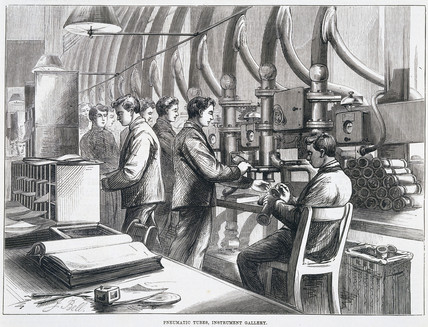 'Pneumatic Tubes, Instrument Gallery', 1874.