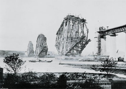 The construction of the Forth Bridge, Scotland, 1888.