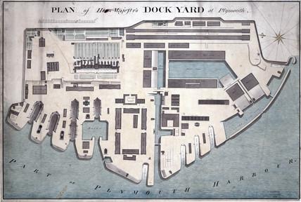 Ground plan of Plymouth Dockyard, c 1802.