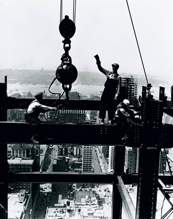 Laying a beam, Empire State Building, New York, c 1931.