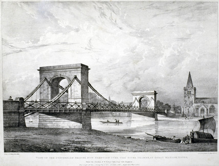 Suspension Bridge at Great Marlow, Buckinghamshire, 1830.