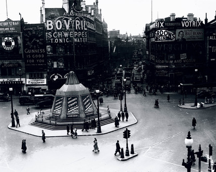Piccadilly Circus, London, 5 May 1945.
