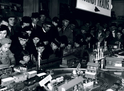 Model trains at Gamages department store, London, 16 December 1936.