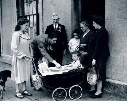Labour candidates canvasing for votes, Cardiff, Wales, 16 June 1945.
