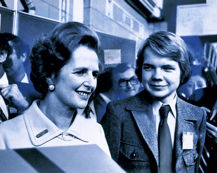 Margaret Thatcher and William Hague, British politicians, 1977.