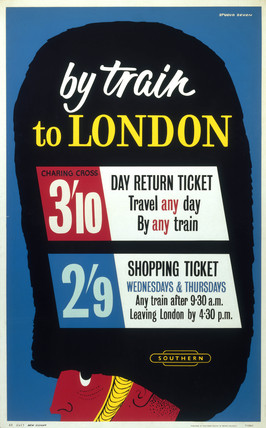 'By Train to London', 1960. British Railways poster, 1960.